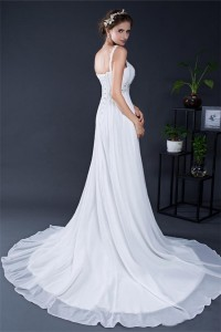 A Line Sweethert Empire Waist Chiffon Beaded Pregnant Wedding Dress With Straps