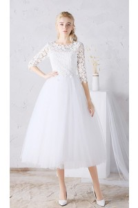A Line Tea Length Tulle Floral Lace Sleeve Outdoor Garden Wedding Dress