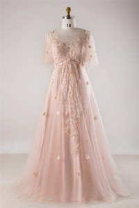 A Line Tulle Sleeve Blush Pink Lace Flower Bohemian Plus Size Wedding Dress
