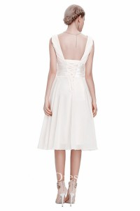 A Line V Neck Corset Back Short White Chiffon Bridesmaid Dress With Bow Flower
