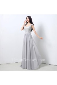 A Line V Neck Long Silver Chiffon Lace Beaded Prom Dress With Sash Straps