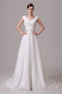 A Line V Neck Organza Lace Beaded Wedding Dress With Bow