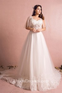 A Line V Neck See Through Tulle Lace Plus Size Wedding Dress With Sleeves