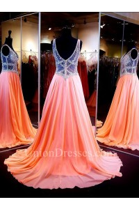 A Line V Neck See Through Tulle Long Coral Chiffon Beaded Prom Dress Back