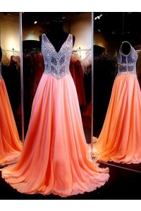 A Line V Neck See Through Tulle Long Coral Chiffon Beaded Prom Dress