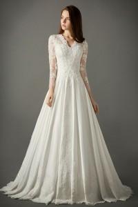 A Line V Neck Sheer Back Long Sleeve Taffeta Lace Wedding Dress