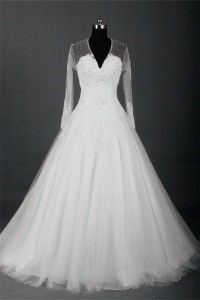 A Line V Neck Sheer Back Long Sleeve Tulle Lace Pearl Wedding Dress