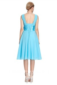 A Line V Neck Short Blue Chiffon Bridesmaid Prom Dress With Flower Bow Corset Back