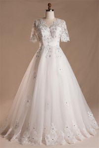 A Line V Neck Short Sleeve Tulle Lace Beaded Wedding Dress Keyhole Corset Back