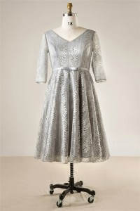 A Line V Neck Silver Lace Sleeve Plus Size Bridesmaid Prom Dress Bow Belt