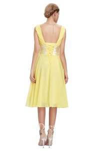 A Line V Neck Sleeveless Short Yellow Chiffon Bridesmaid Dress With Bow Corset Back