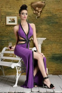 Adjustable V Neck Cut Out Backless Lilac Jersey Beaded Evening Prom Dress With Slit