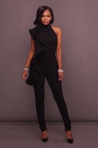 Asymmetrical High Neck Black Ruffle Formal Evening Jumpsuit For Women