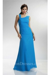 Asymmetrical Neckline Long Ocean Blue Chiffon Ruched Bridesmaid Evening Dress