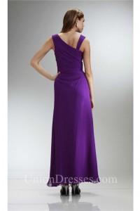 Asymmetrical Neckline Long Purple Chiffon Ruched Bridesmaid Evening Dress