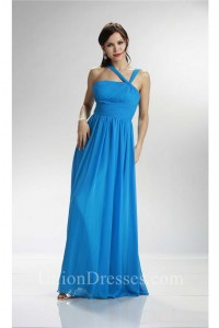 Asymmetrical Strap Long Ocean Blue Chiffon Ruched Bridesmaid Dress