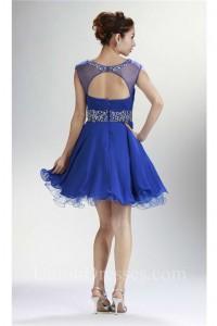 Ball Bateau Cap Sleeve Open Back Short Royal Blue Chiffon Beaded Prom Dress