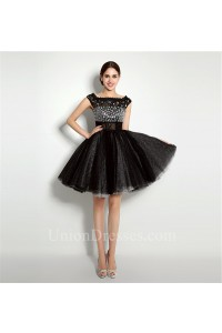 Ball Gown Bateau Neck Short Black Tulle Beaded Tutu Prom Dress