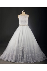 Ball Gown Bateau Neckline Sleeveless Tulle Lace Plus Size Wedding Dress With Crystals Belt