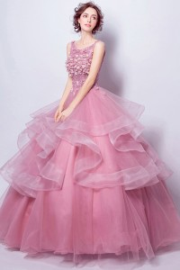 Ball Gown Boat Neck Dusty Rose Tulle Ruffle Flower Wedding Dress Corset Back