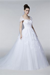 Ball Gown Cap Sleeve Lace Tulle Puffy Wedding Dress Chapel Train