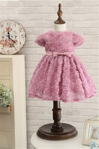 Ball Gown Dusty Rose Floral Toddle Girl Dress With Sleeve Bow Sash