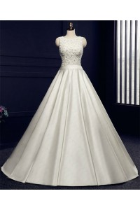 Ball Gown High Neck Backless Ivory Satin Beaded Wedding Dress With Sash