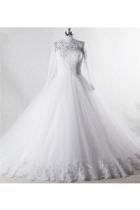 Ball Gown High Neck Long Sleeve Tulle Lace Beaded Wedding Dress