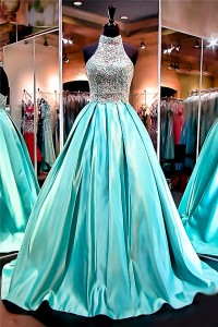 Ball Gown High Neck Open Back Mint Green Satin Beaded Prom Dress