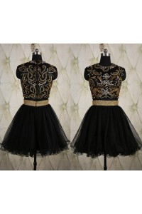 Ball Gown High Neck Sleeveless Short Black Tulle Gold Beaded Prom Dress With Sash
