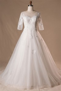 Ball Gown Illusion Neckline Lace Tulle Plus Size Wedding Dress With Sleeves