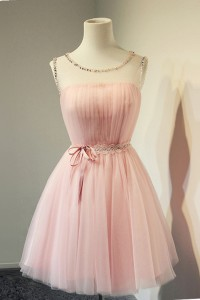 Ball Gown Illusion Neckline Open Back Short Light Pink Tulle Corset Prom Dress