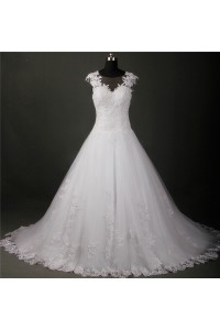Ball Gown Illusion Neckline See Through Back Tulle Lace Beaded Wedding Dress