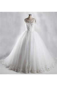 Ball Gown Illusion Neckline Shinning Tulle Lace Beaded Wedding Dress With Bow