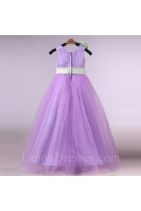 Ball Gown Lilac Tulle Flower Girl Dress With Sash And Flower