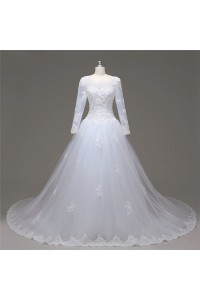 Ball Gown Long Sleeve Tulle Lace Pearl Beaded Wedding Dress