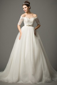 Ball Gown Off The Shoulder Lace Sleeve Tulle Wedding Dress Crystals Sash