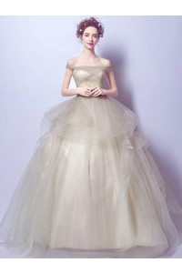Ball Gown Off The Shoulder Light Tan Tulle Ruffle Prom Wedding Dress Corset Back