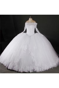 Ball Gown Off The Shoulder Long Sleeve Lace Tulle Puffy Wedding Dress
