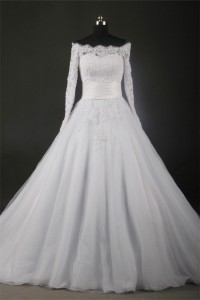 Ball Gown Off The Shoulder Long Sleeve Organza Lace Wedding Dress