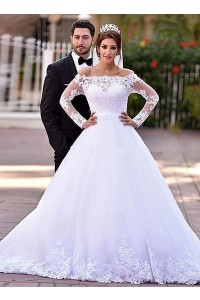 Ball Gown Off The Shoulder Long Sleeve Tulle Lace Wedding Dress