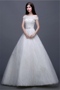 Ball Gown Off The Shoulder Tulle Lace Beaded Wedding Dress Without Train