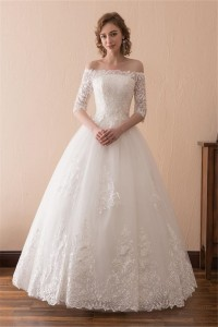 Ball Gown Off The Shoulder Tulle Lace Floor Length Wedding Dress Lace Up Back