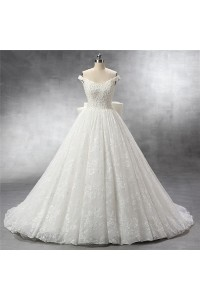Ball Gown Off The Shoulder Vintage Lace Pearl Beaded Wedding Dress With Bow