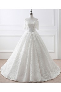 Ball Gown Off The Shoulder Vintage Lace Wedding Dress With Short Sleeves