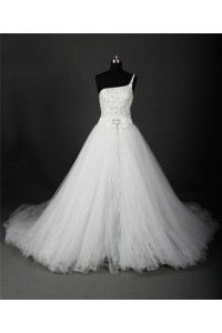 Ball Gown One Shoulder Satin Beaded Crystal Wedding Dress With Detachable Skirt