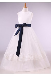 Ball Gown Round Neck Tulle Lace Flower Girl Dress With Navy Sash