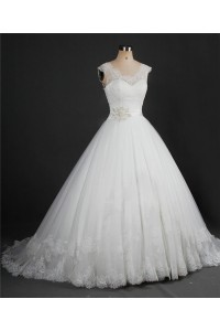 Ball Gown Scalloped Neck Tulle Lace Wedding Dress With Crystals Beading Sash
