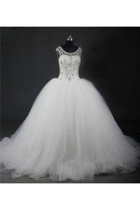 Ball Gown Scoop Neck Tulle Puffy Wedding Dress With Crystals Beading