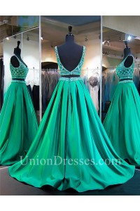 Ball Gown Scoop Neck Two Piece Emerald Green Satin Beaded Prom Dress